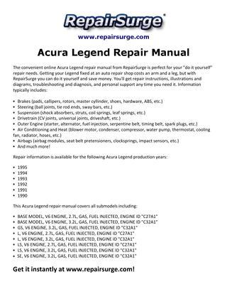 download Acura Legend workshop manual