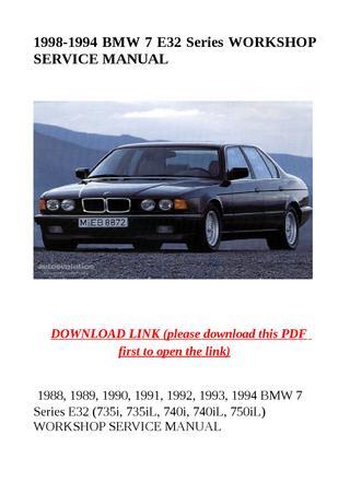 download BMW 7 E32 735i 735iL 740i 740iL 750iL workshop manual