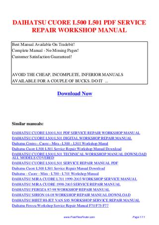 download Daihatsu Cuore L500 L501 workshop manual