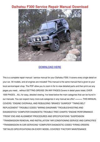 download Daihatsu Rocky F70 F75 F77 workshop manual