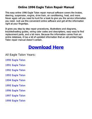 download Eagle Talon workshop manual