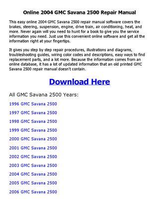 download GMC Savana workshop manual