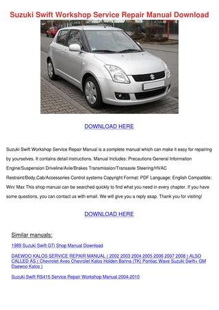 download HOLDEN BARINA SUZUKI SWIFT G10 G13 workshop manual