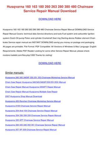 download HUSQVARNA CHAINSAW 263 280 380 480 workshop manual