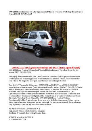 download Holden Frontera workshop manual