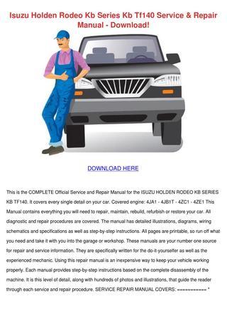 download Holden Rodeo KB TF 140 workshop manual