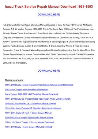 download Isuzu Frontera workshop manual