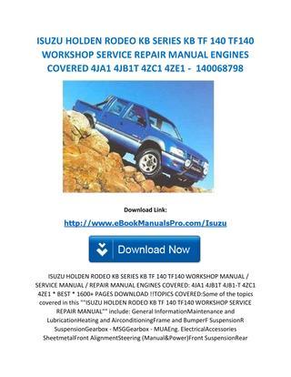 download Isuzu KB TF 140 workshop manual