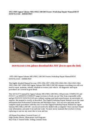 download JAGUAR SALOON MK1 MK2 240 340 workshop manual