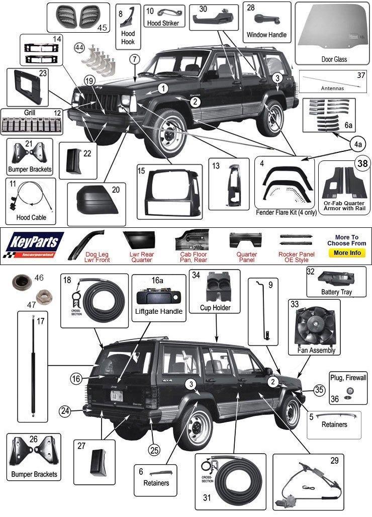download JEEP CHEROKEE XJ Parts workshop manual