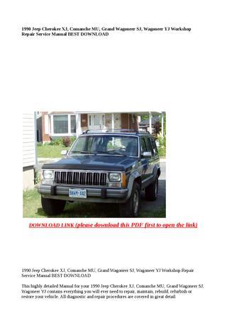 download Jeep Cherokee XJ Comanche MU Grand Wagoneer SJ Wagoneer YJ workshop manual