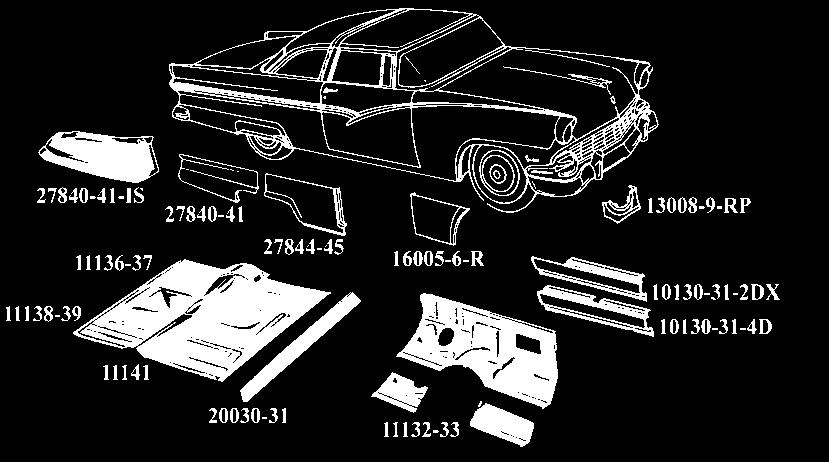 download Lower Quarter Trim Rear Arm Rest Covers White Red Two Tone Ford Sunliner Body Style 76B workshop manual