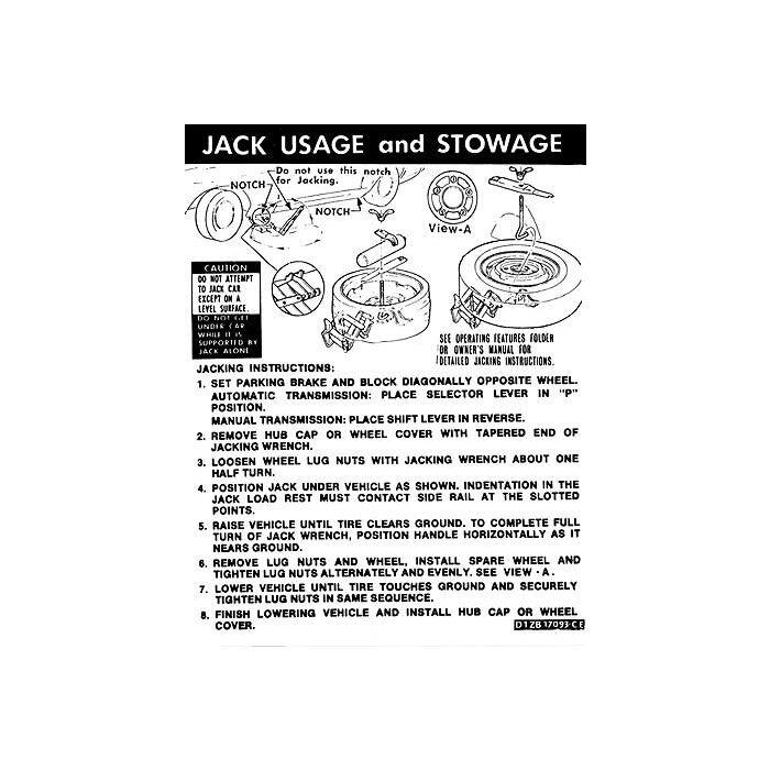 download Mustang Space Saver Tire Jack Instruction Decal workshop manual