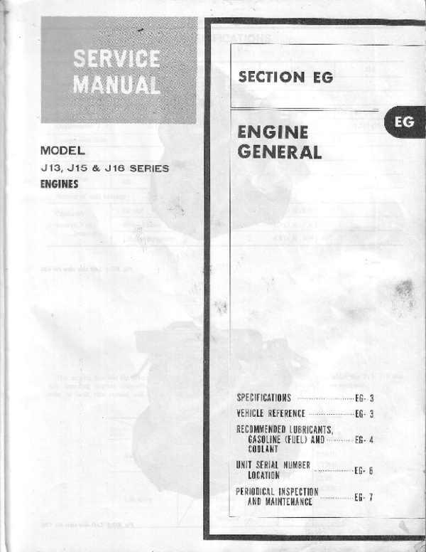 download NISSAN DATSUN EngineJ13 J15 J16 workshop manual