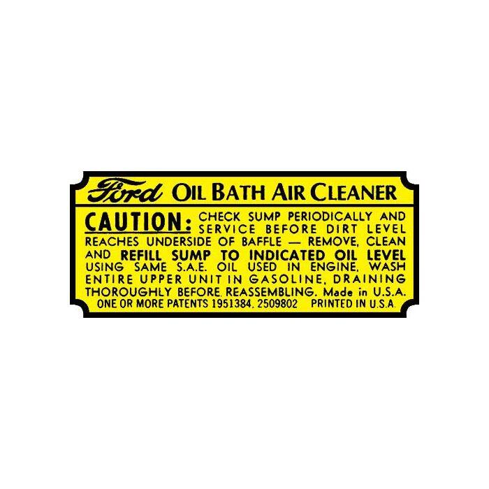 download Oil Bath Air Cleaner Decal Ford Truck workshop manual