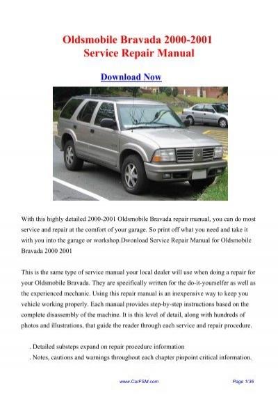 download Oldsmobile Bravada workshop manual