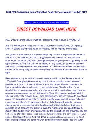 download SsangYong Kyron 1 400MB workshop manual